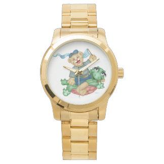 TURTLE BEAR CARTOON Oversized Gold Bracelet Watch