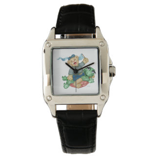 TURTLE BEAR CARTOON Perfect Square Black Leather Watch