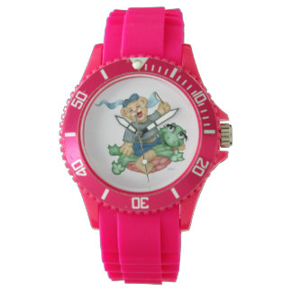 TURTLE BEAR CARTOON Sporty Pink Silicon Watch