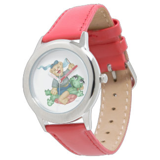 TURTLE BEAR CARTOON Stainless Steel RED Watch