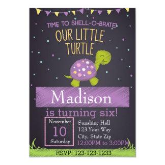 Turtle Birthday Invitation (purple)