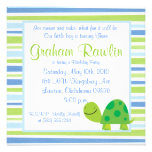 turtle birthday party fun cute sweet blue green announcements