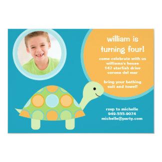 "Turtle Birthday Party Invitation 5"" X 7"" Invitation Card"