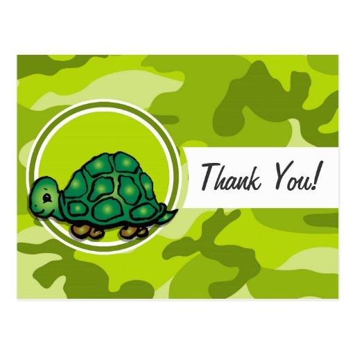 Turtle; bright green camo, camouflage post card