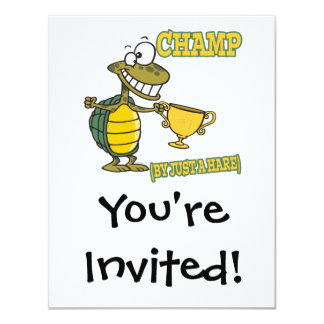 turtle champ by just a hare fable pun 11 cm x 14 cm invitation card