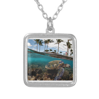 Turtle Crossing The Beach Rocks Silver Plated Necklace