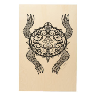 Turtle Drawing Wood Wall Decor