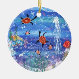 Turtle Dreaming Ceramic Ornament
