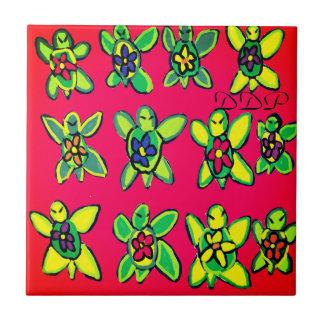 Turtle flower art ceramic tile