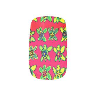 Turtle flower art minx nail art