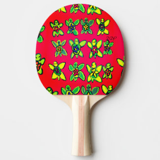 Turtle flower art ping pong paddle