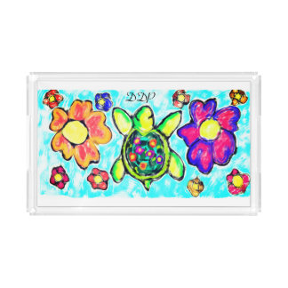 Turtle flower art two acrylic tray