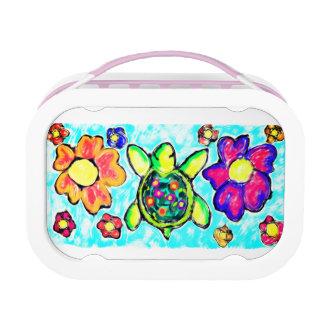Turtle flower art two lunch box