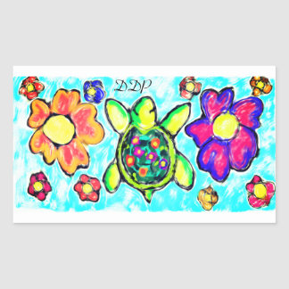 Turtle flower art two rectangular sticker