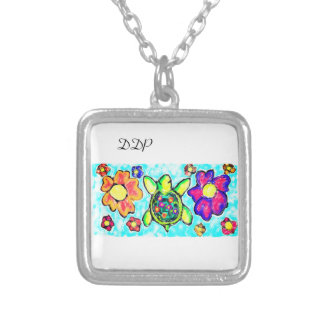 Turtle flower art two silver plated necklace