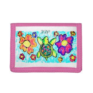 Turtle flower art two tri-fold wallet