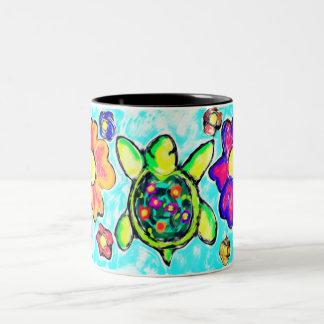 Turtle flower art two Two-Tone coffee mug