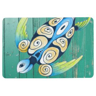 turtle green wood floor mat