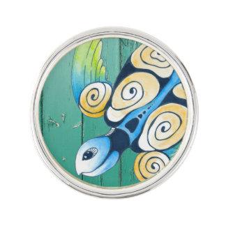 turtle green wood lapel pin