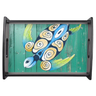 turtle green wood serving tray