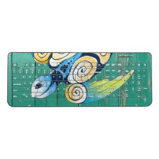 turtle green wood wireless keyboard