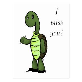 Turtle, I miss you! Postcard