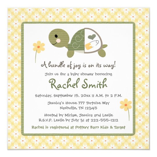 Turtle in Diaper Baby Shower Invitations in Yellow