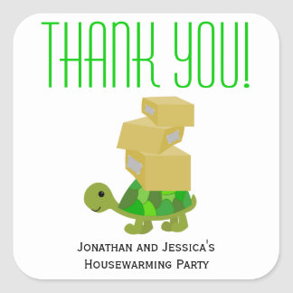 Turtle Moving Boxes Housewarming Favor Stickers