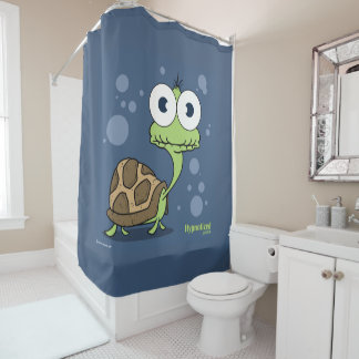 Turtle (Navy Blue Bg) Shower Curtain