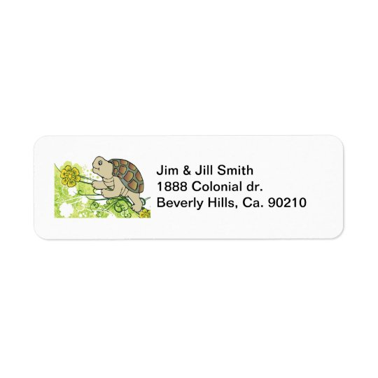 Turtle On Vines Return Address Label