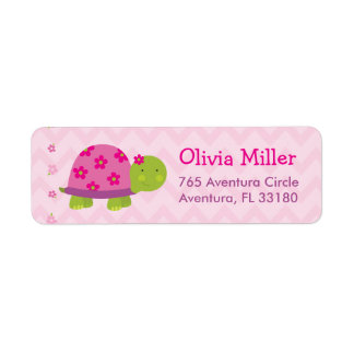 Turtle Pink Personalized BabyShower Address Labels