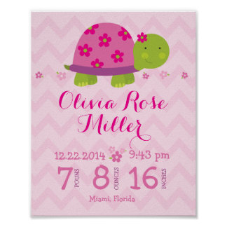 Turtle Pink Personalized Birth Stats Announcement Poster