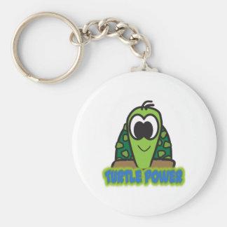turtle power basic round button key ring