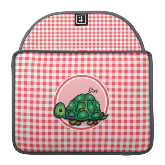 Turtle; Red and White Gingham Sleeve For MacBook Pro