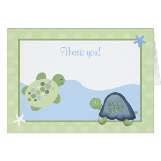 Turtle Reef Green Folded Thank you Card