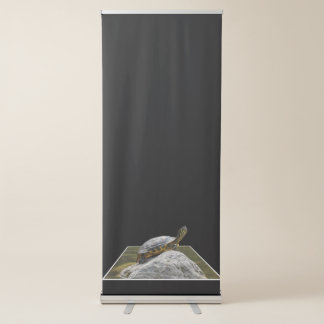 turtle rest on rock at sun on pond retractable banner