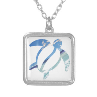 Turtle-sea-sky Silver Plated Necklace