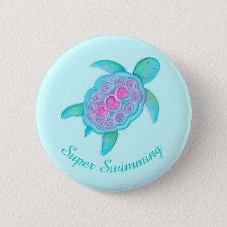 Turtle super swimming button badge