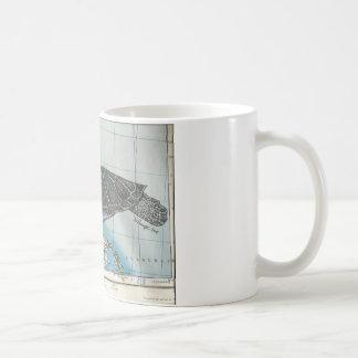 Turtle swimming on map mug