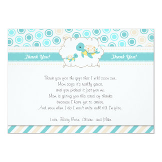 Turtle Thank You Card Note Teal Gold