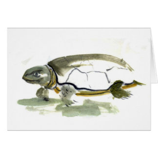 Turtle, traditional Sumi-e in color Card