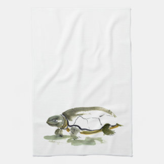 Turtle, traditional Sumi-e in color Towels