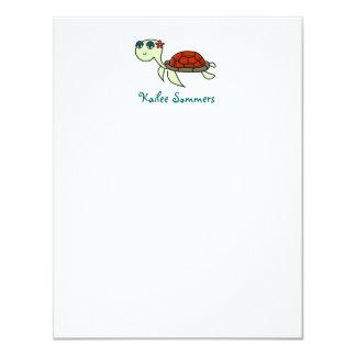 Turtle, Under the Sea Personal Stationery 11 Cm X 14 Cm Invitation Card