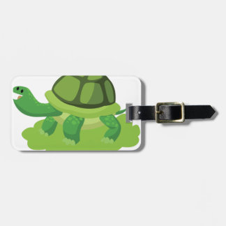 turtle walking in the grass bag tag