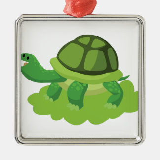 turtle walking in the grass metal ornament