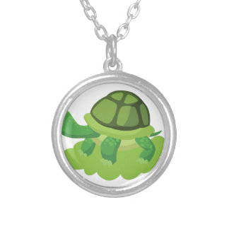 turtle walking in the grass silver plated necklace