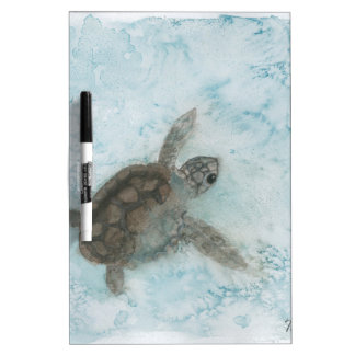Turtle Watercolor Painting Dry Erase Board