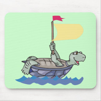 Turtle with flag at sea mouse pad