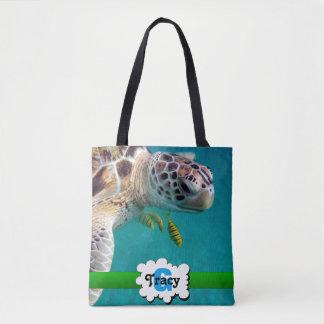 Turtle with tropical fish vibrant monograms bag
