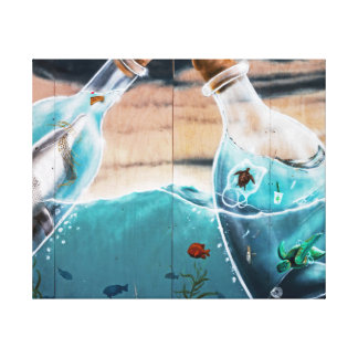 Turtles And Dolphins In The Bottles Canvas Print